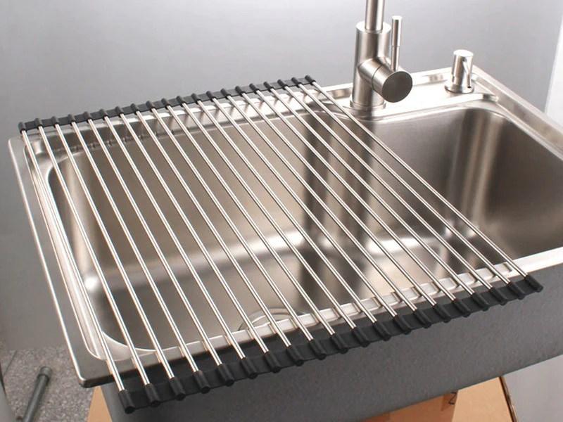 premiumracks stainless steel over the sink dish rack roll up durable multipurpose