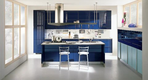 kitchen in blue