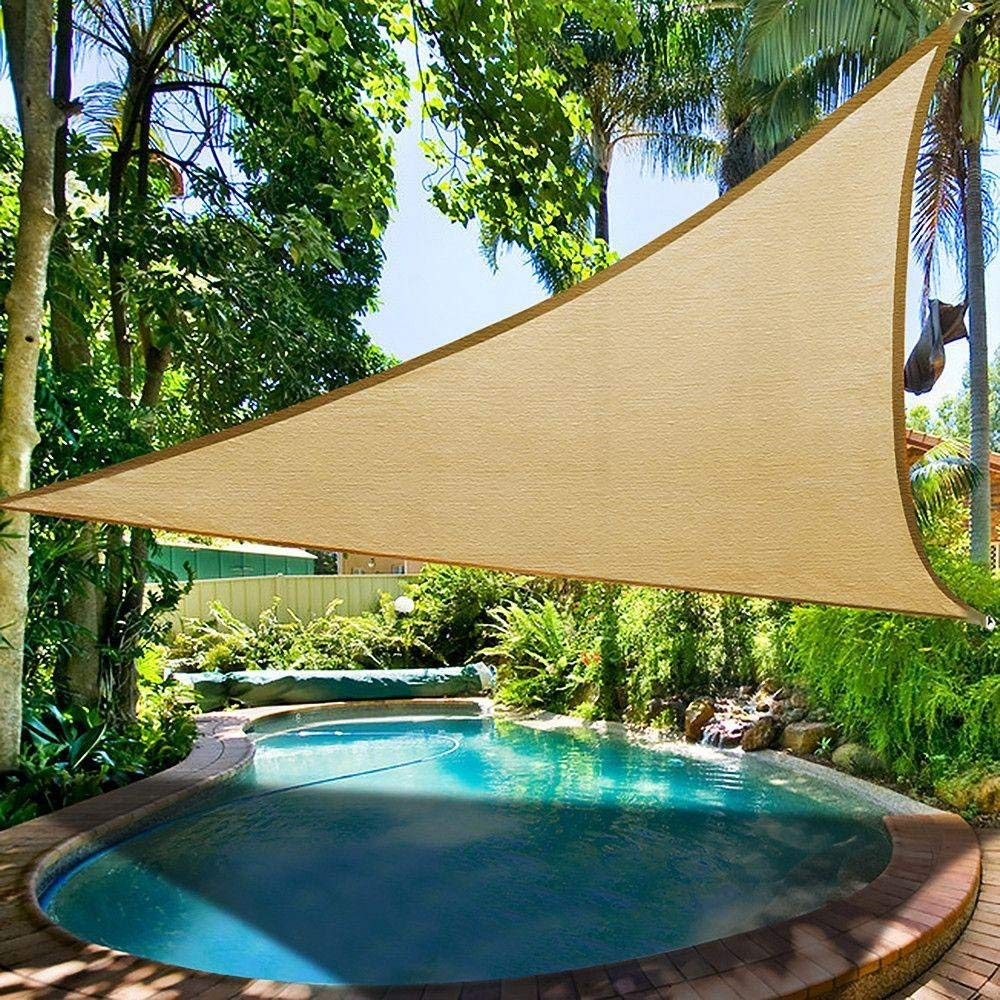 shade beyond 15 x 15 x 21 sand color triangle sun shade sail for patio uv block for outdoor facility and activities