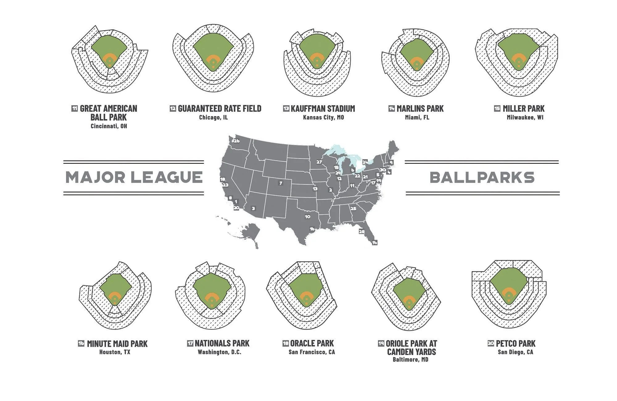 baseball park scratch off map major league 30 12x18 inches poster includes scratcher