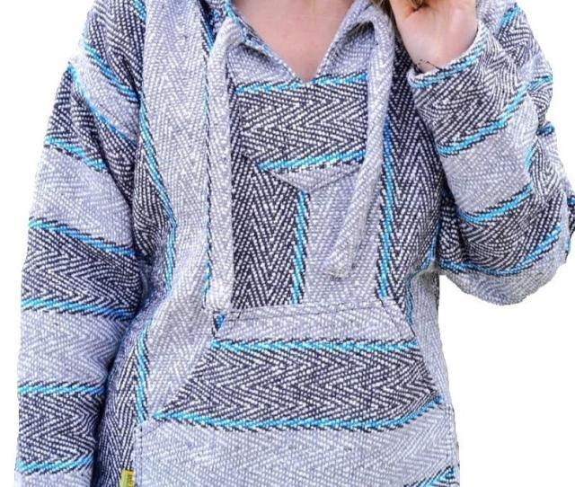 Baja Hoodie Drug Rug Grey Blue