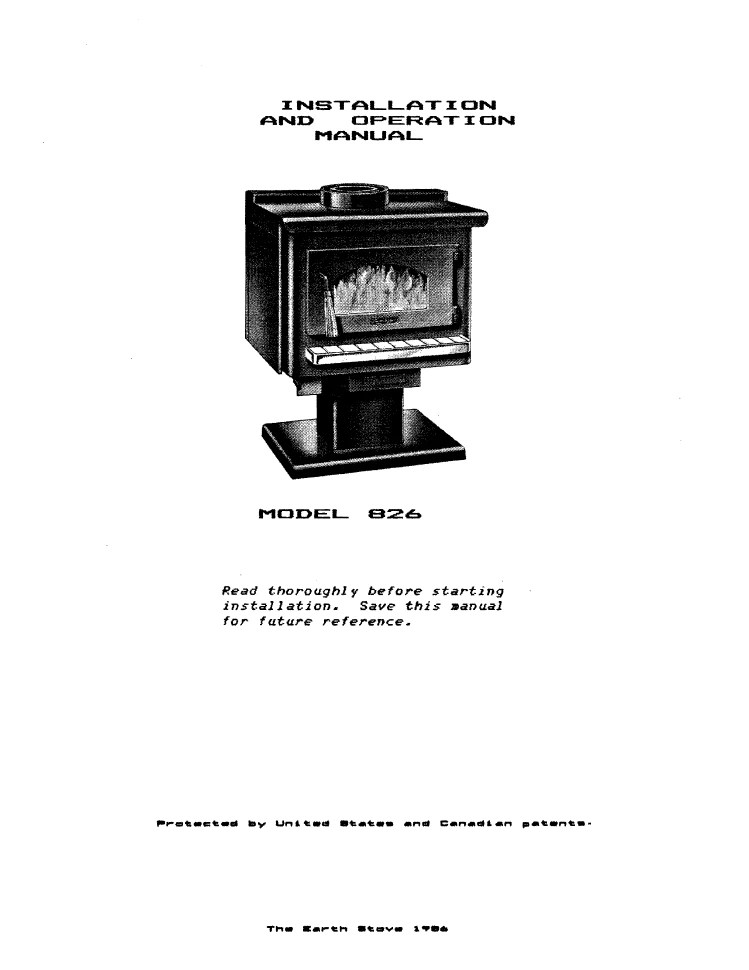 Earth Stove 826 User Manual Wood Es826 Woodheatstoves Com