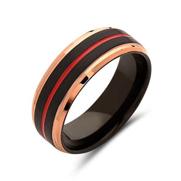 Red Tungsten Wedding Band Gray Brushed Tungsten Ring