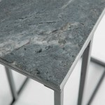 Kandla Grey Real Marble C Side Table With Grey Metal Frame Roseland Furniture
