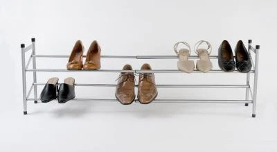 extendable shoes rack grey the organised store