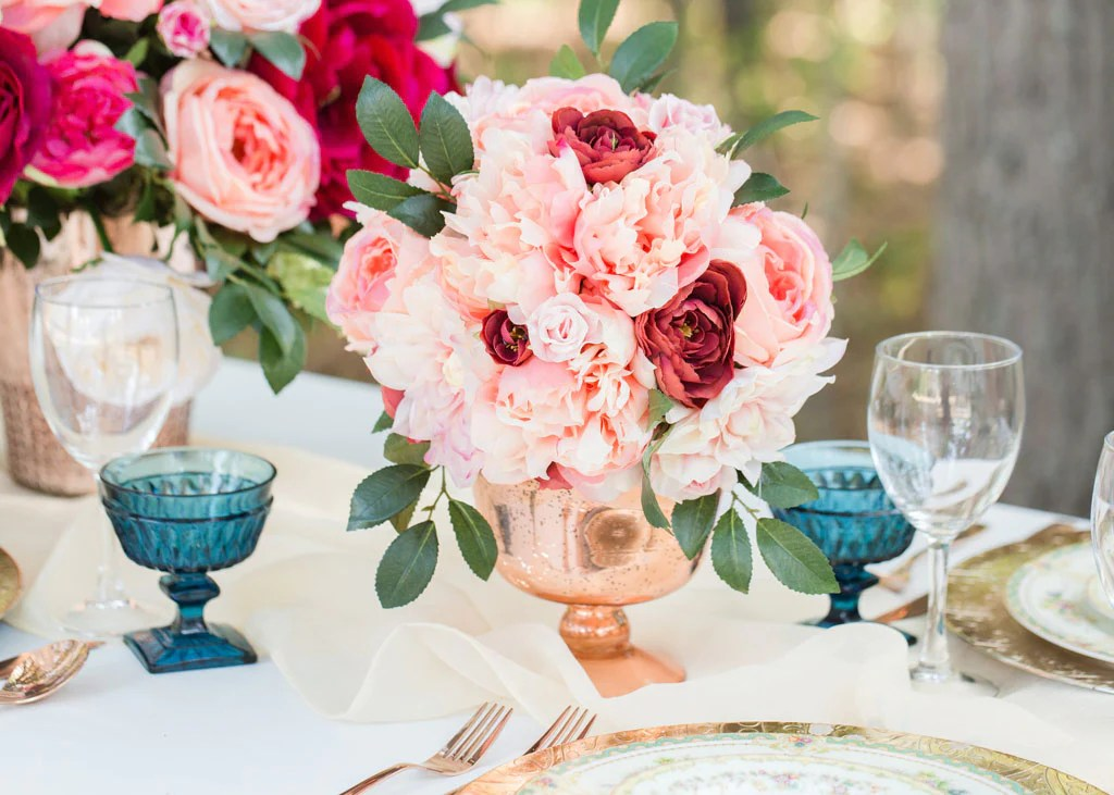 Get The Look: Pink Silk Flower Arrangement For Wedding