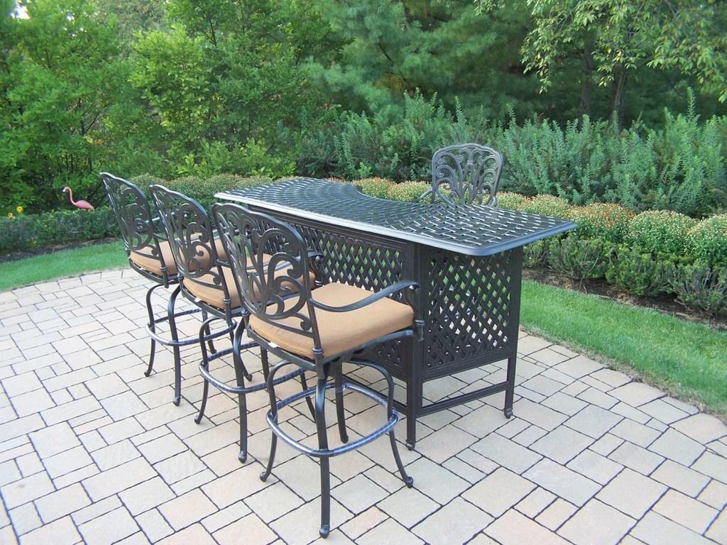 oakland living hampton aluminum 5 pc party bar set w aluminum bar table and 4 swivel bar stools
