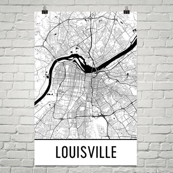 louisville ky street map poster