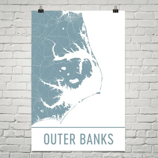 outer banks nc street map poster