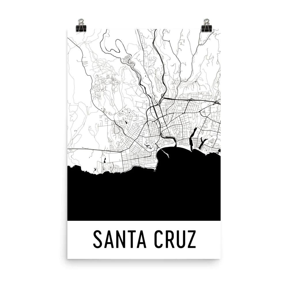 santa cruz ca street map poster