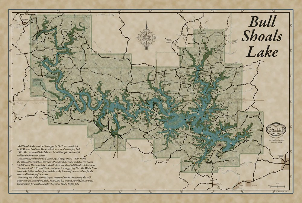 Lake Maps   Gallup Map Bull Shoals Classic Map