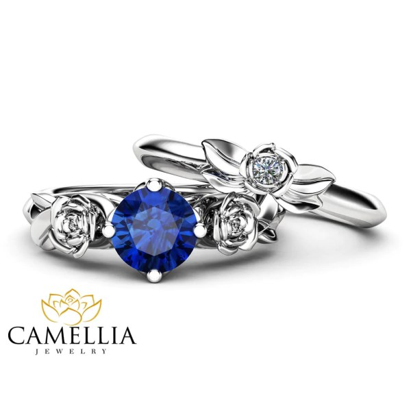 Sapphire Rose Engagement Ring Set 14K White Gold Matching Rings     Sapphire Rose Engagement Ring Set 14K White Gold Matching Rings Sapphire  Flower Rose Ring with Matching