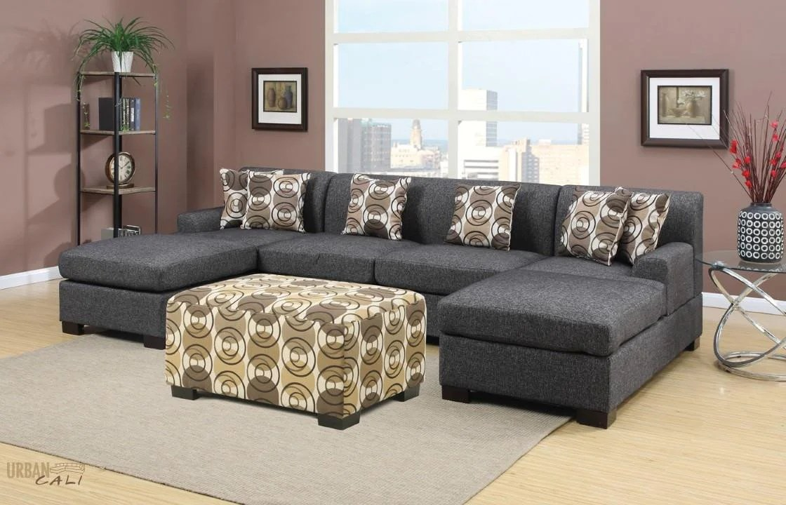 Hayward Small U Shaped Linen Sectional Sofa