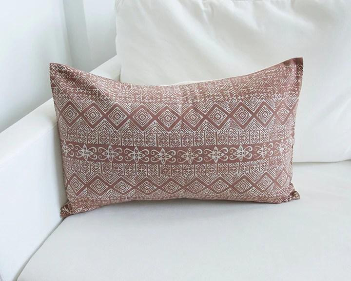 batik lumbar pillow blush 14x22