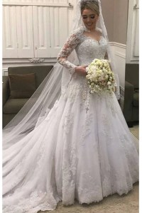 Wedding Dresses     Laurashop Luxury Long Sleeves White Lace High Quality Wedding Dresses Bridal Dress  Wedding Gowns LD600