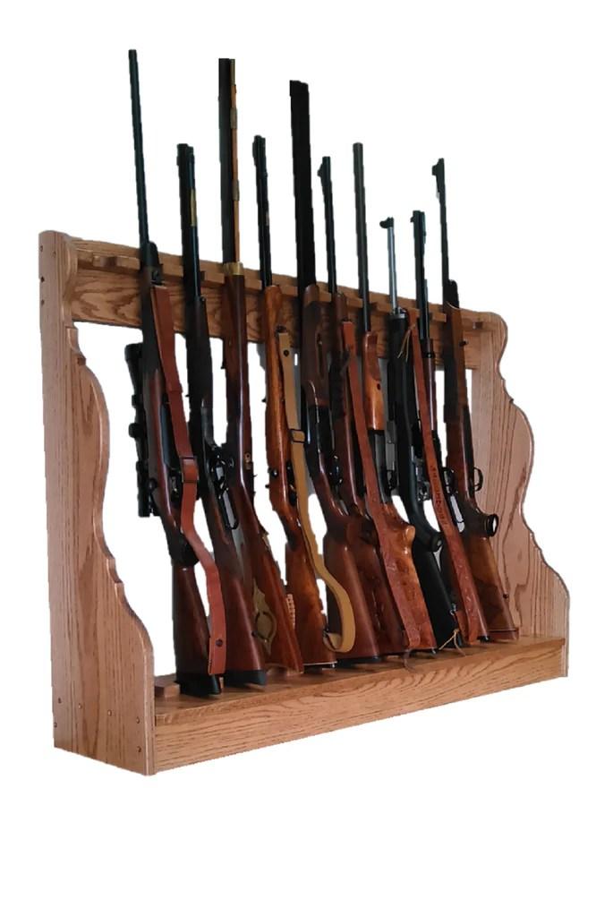 oak wooden vertical gun rack 6 place long gun display