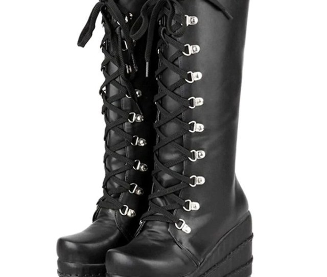 Black Gothic Style Knee High Heel Platform Boots Jpg 846x1029 Cute Goth Boots
