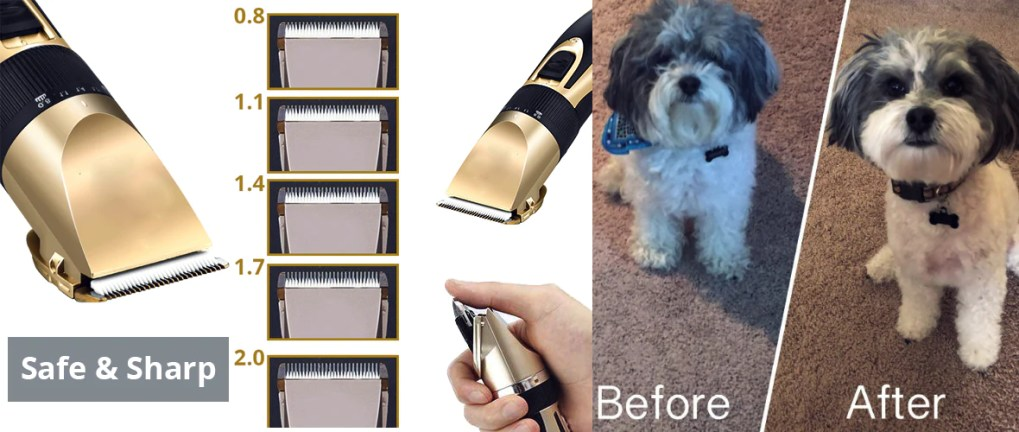 Before and after using Smartpaw Pet Shaver