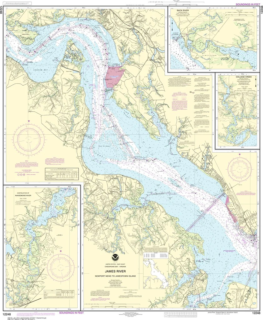 Map from the confederate engineer bureau in richmond, va. Noaa Chart 12248 James River Newport News To Jamestown Island Captain S Nautical Books Charts