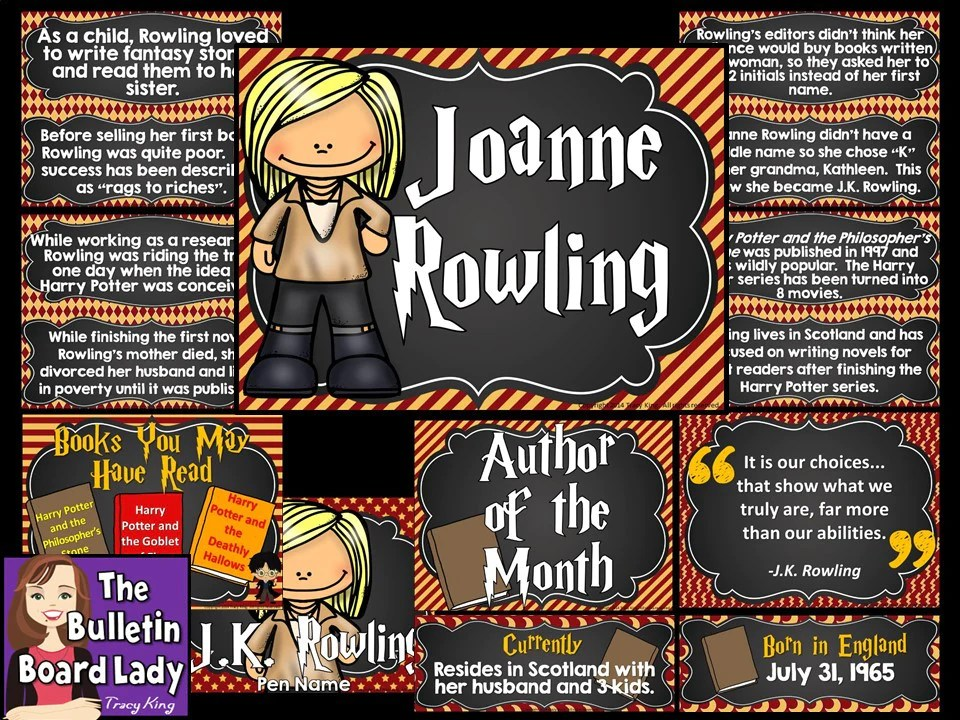 Author Of The Month JK Rowling The Bulletin Board Lady