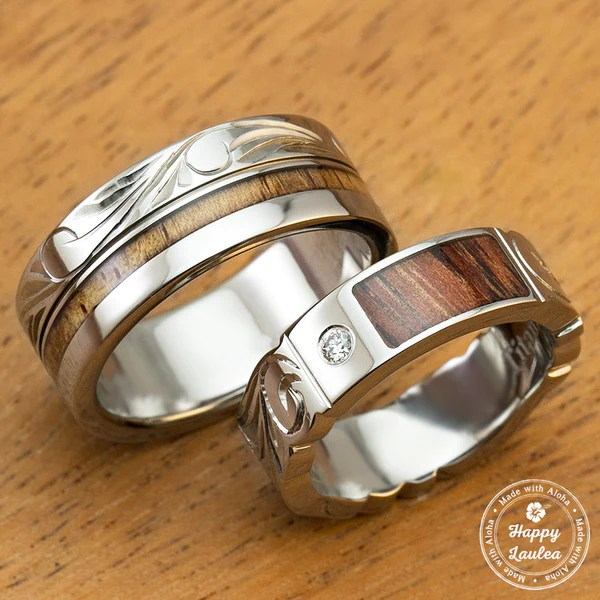 Pair Of 6amp8mm Assorted Titanium CoupleWedding Rings With
