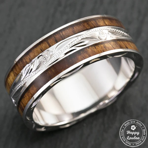 Pair Of Hand Engraved Platinum And Sterling Silver Wedding