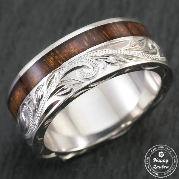 Sterling Silver Hand Engraved Ring With Offset Hawaiian
