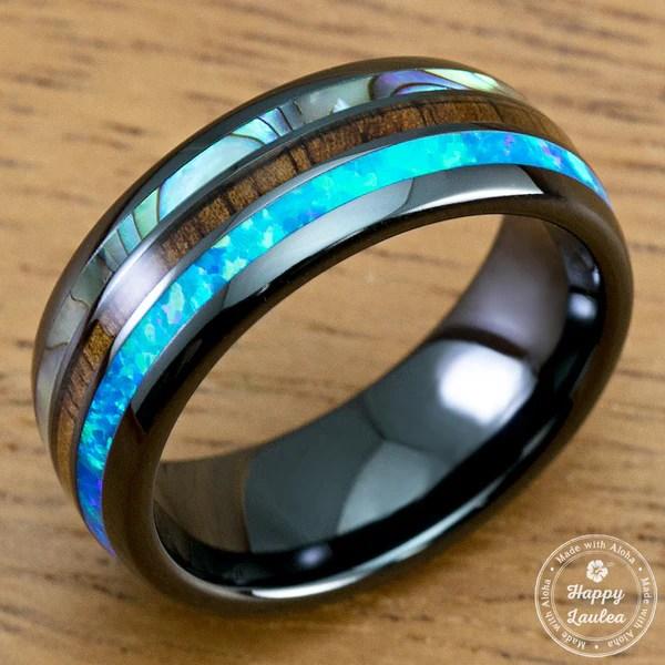 HI TECH Black Ceramic Ring With Abalone Shell Koa Wood
