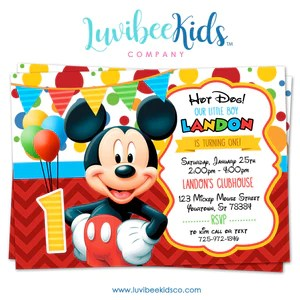 mickey mouse birthday invitation printable invite style 01