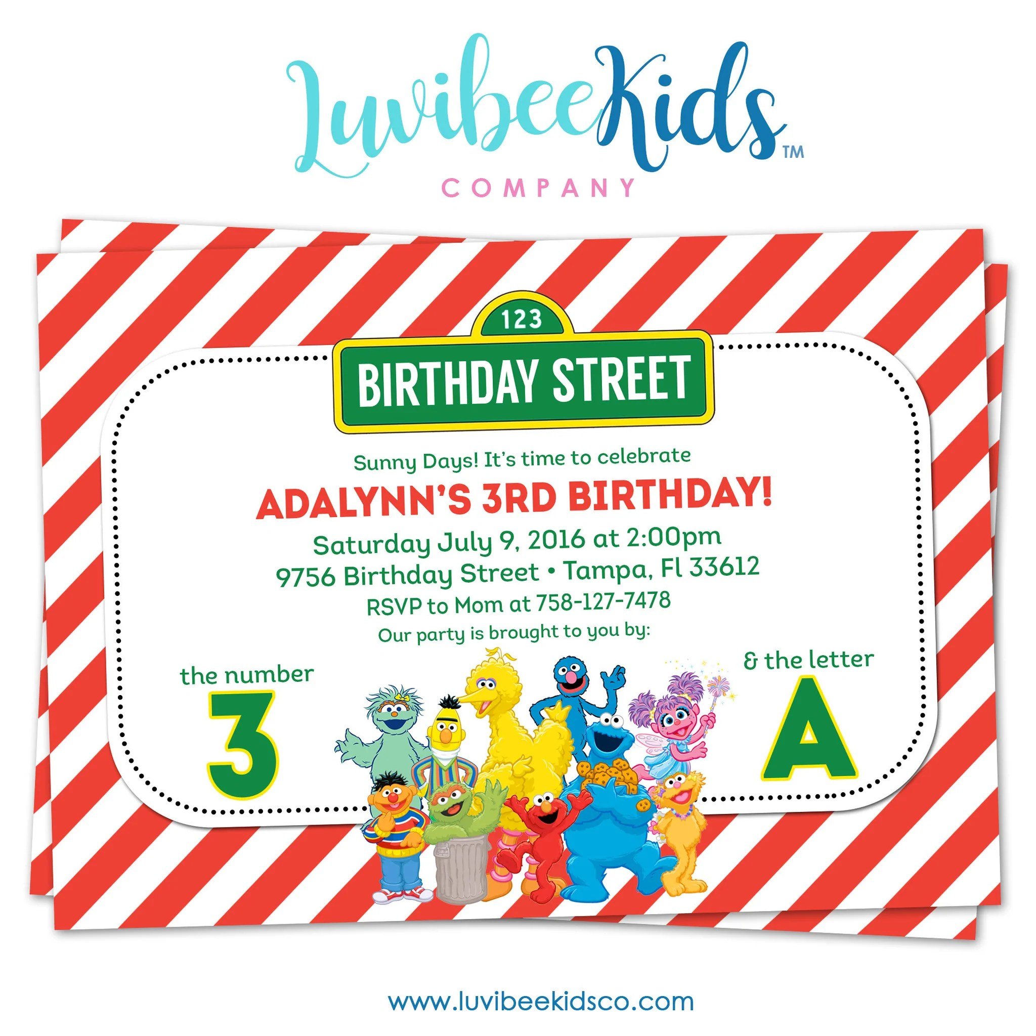 sesame street birthday invitation red stripes