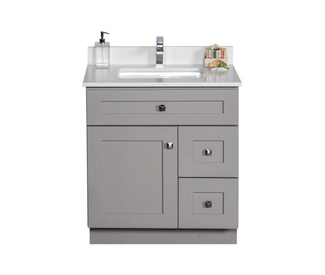 30 Inch Grey Bathroom Vanity  C2 B7 Grey Shaker Style Bathroom Cabinet