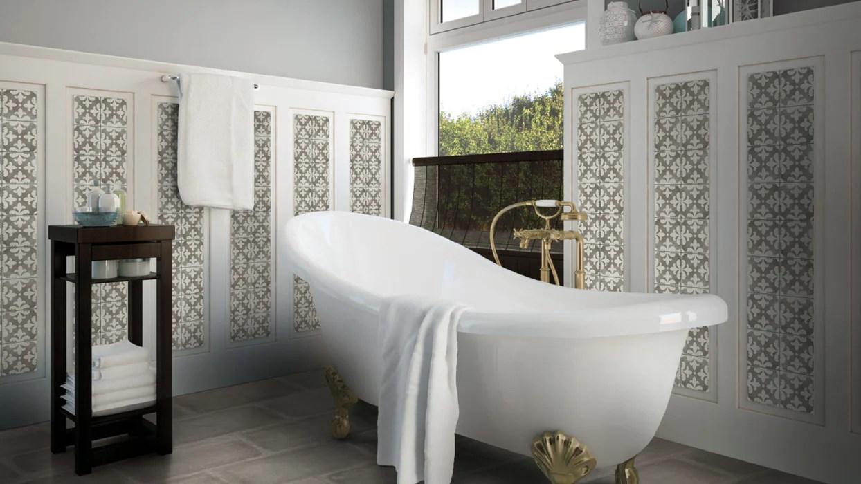 palazzo vintage gray florentina deco porcelain tile honed