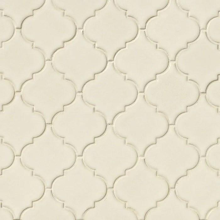 highland park antique white ceramic mosaic 2 1 2 x 2 1 2 arabesque