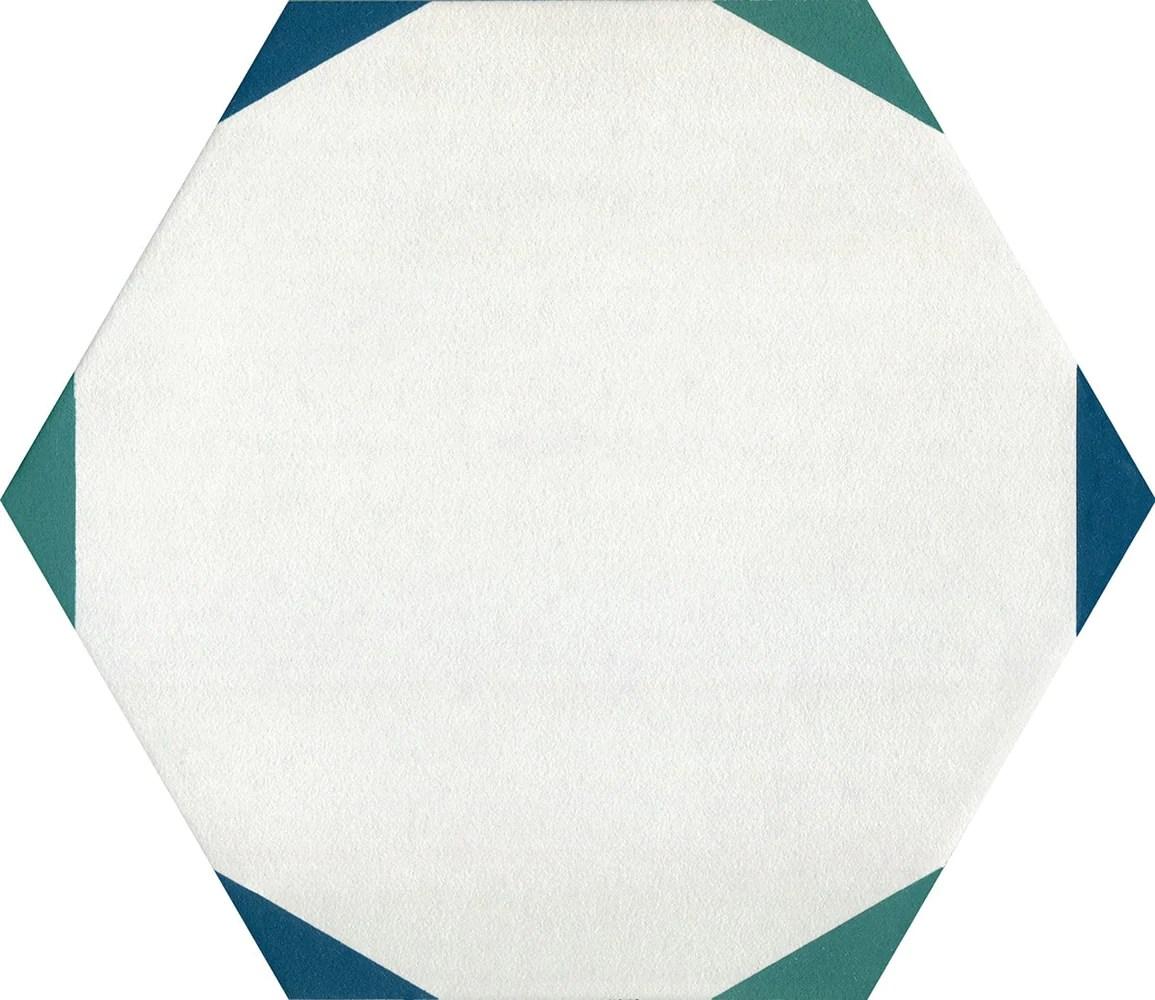 bee hive medley sun hex green blue porcelain tile matte
