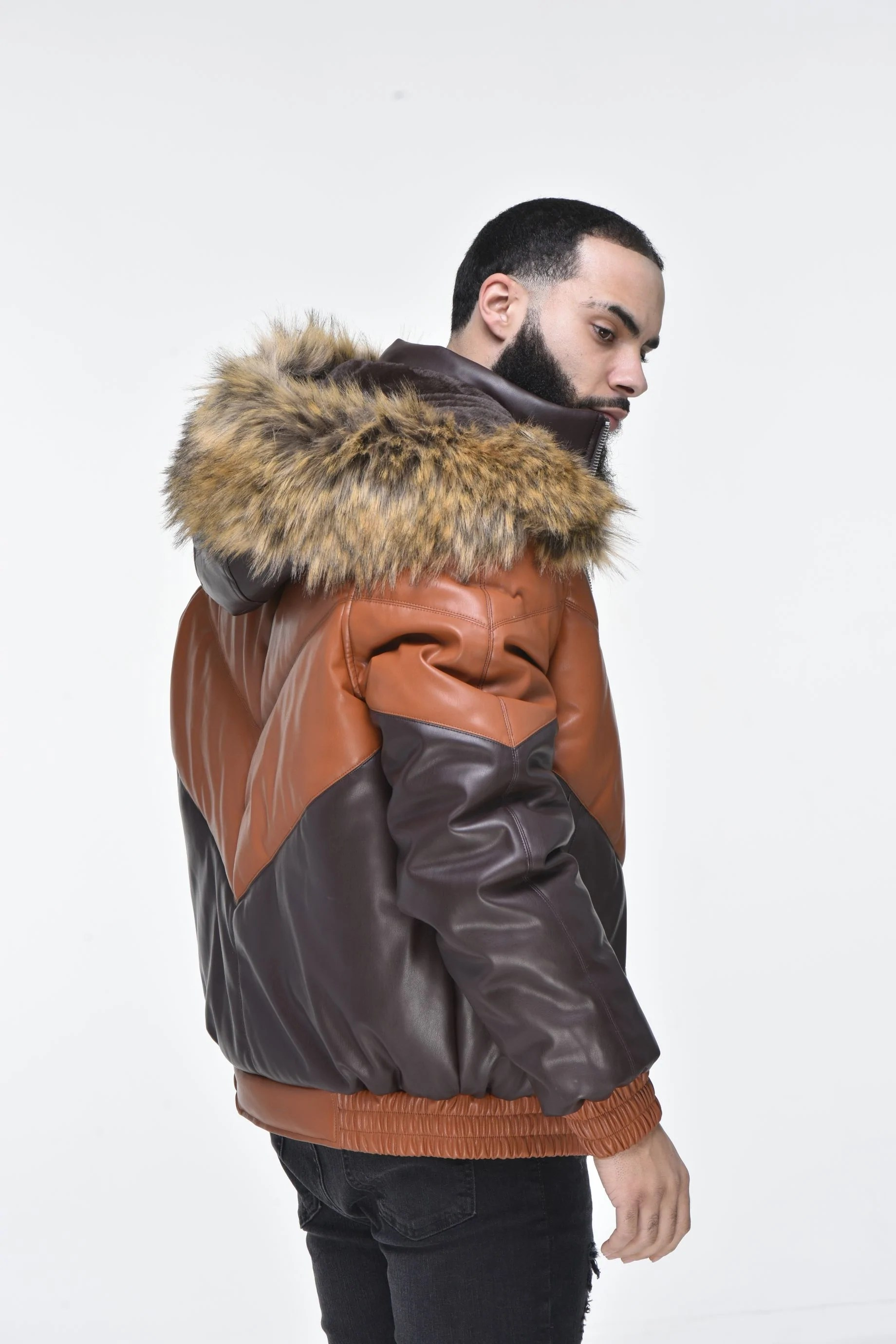 men s faux leather v bomber jacket with