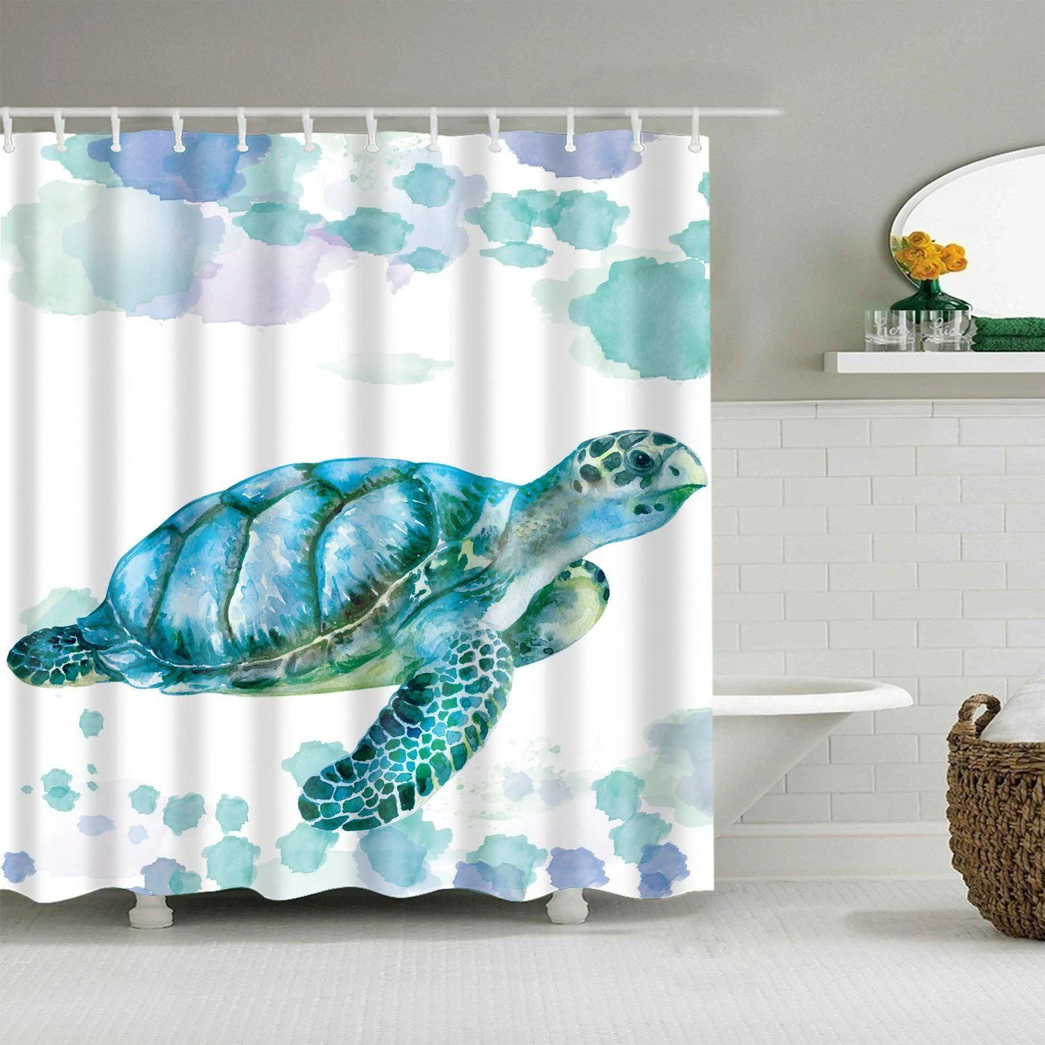 tranquil sea turtle shower curtain