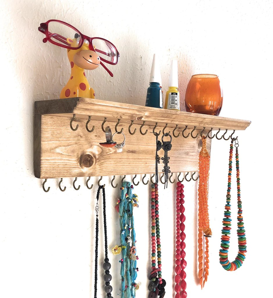 jewelry organizer wall hanging 32 hook necklace earring organizer necklace hanger jewelry storage bracelet holder natural