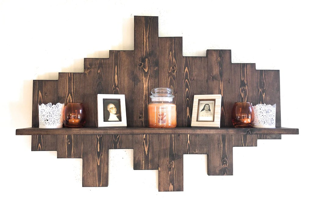 wall mounting shelf hand made wooden wall rack wood rustic decorative shelf