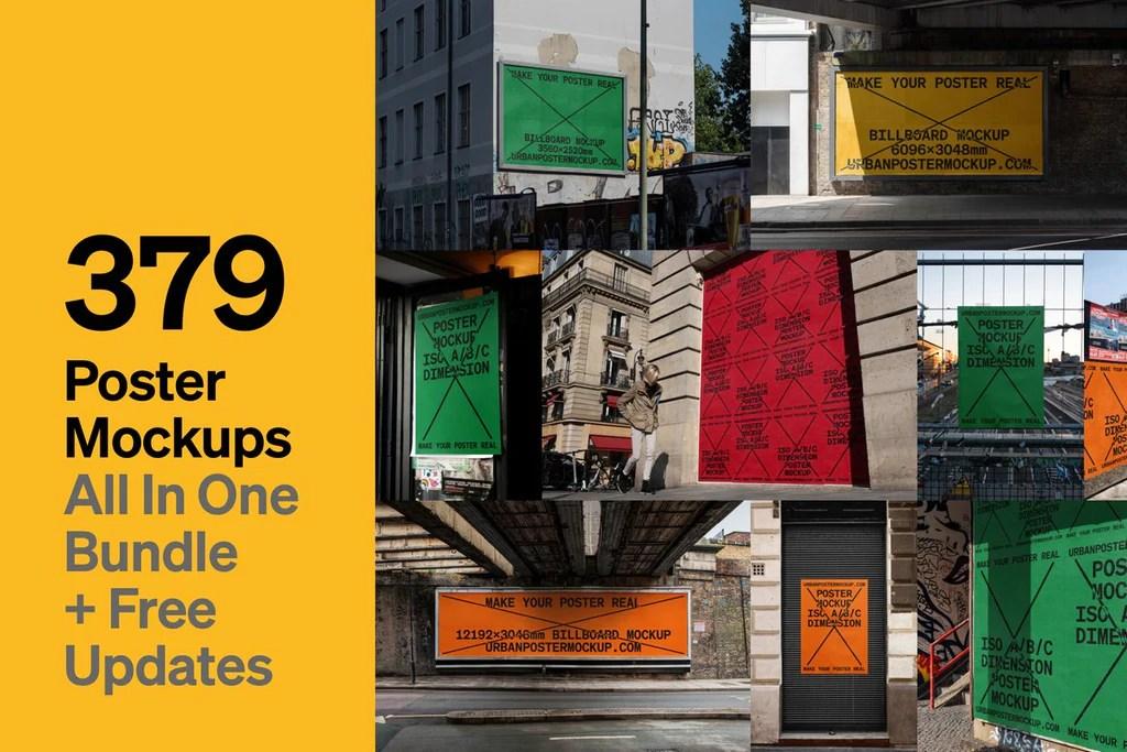Triple hanging poster frame mockup psd. Urban Poster Mockup