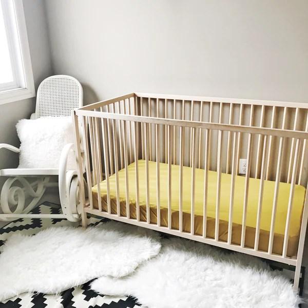 bamboo crib sheet gold palm dotboxed