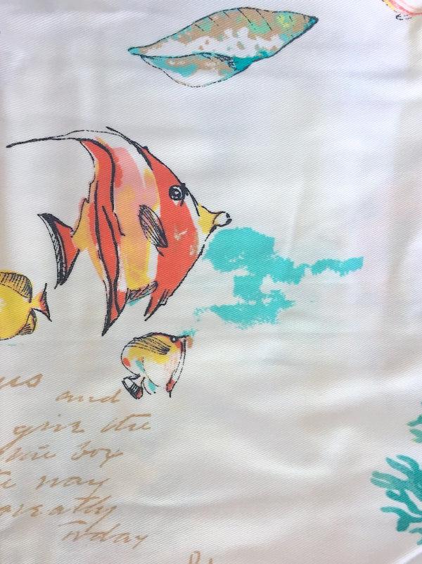under the sea aqua coastal seagrass colorful tropical fish fabric shower curtain