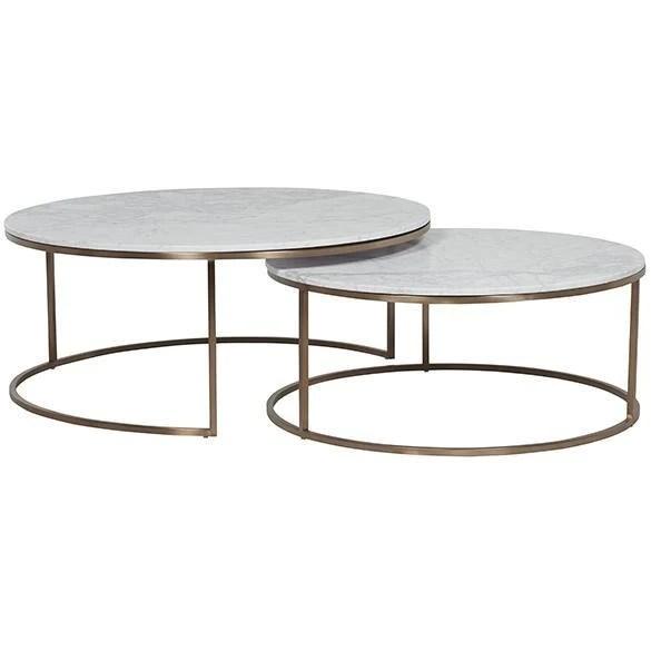 globewest elle round marble nest coffee table