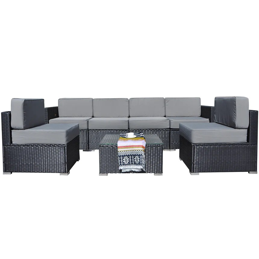 mcombo 7 pieces patio furniture sets all weather outdoor sectional sofa wicker patio conversation set with cushion and glass table 6082 7pc