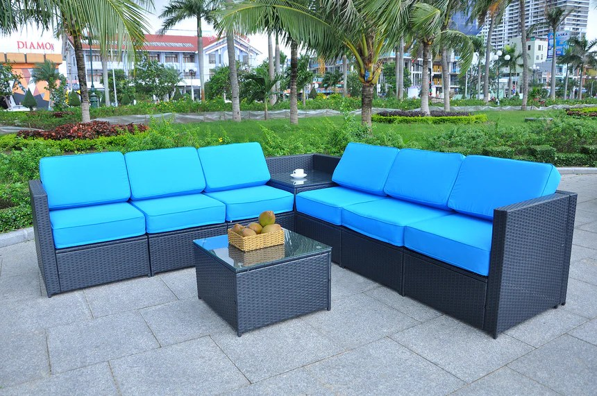 mcombo outdoor patio black wicker furniture sectional set all weather resin rattan chair conversation sofas with water resistant cushion covers 6085