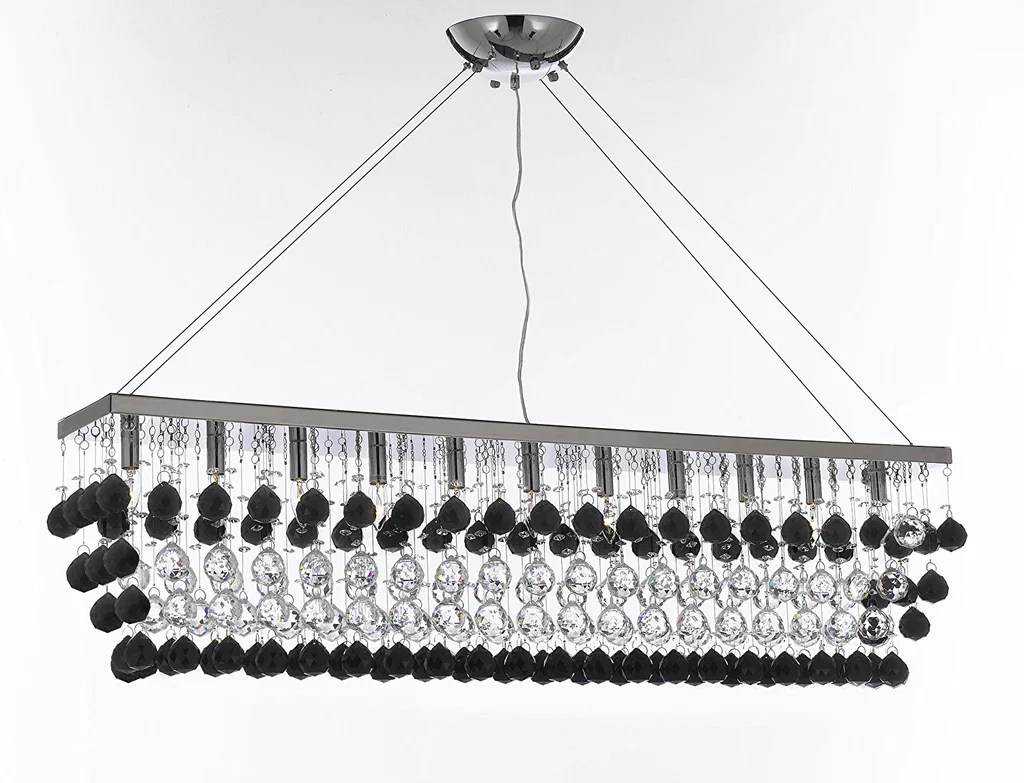 modern contemporary rain drop linear chandelier light lighting chandeliers dressed with jet black crystal balls great dining room or billiard pool