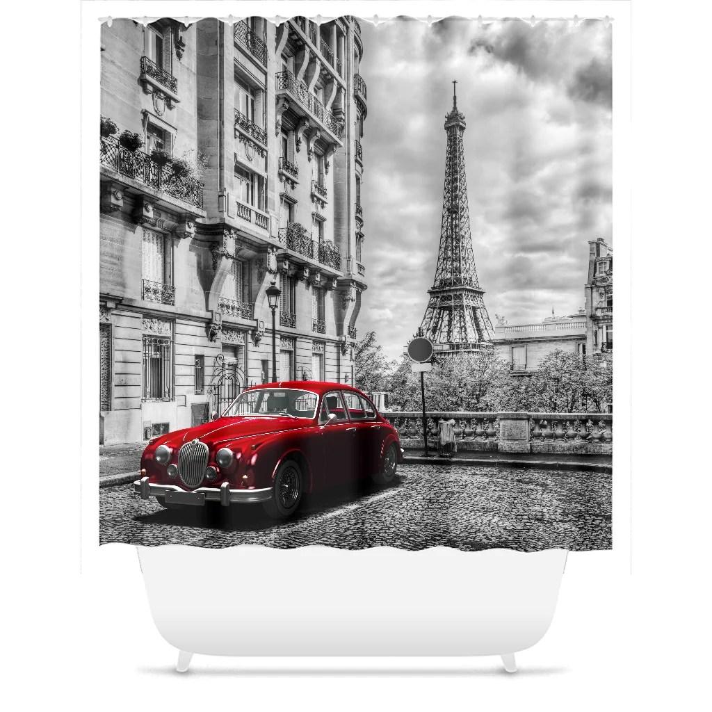 paris red car shower curtain bathroom paris decor