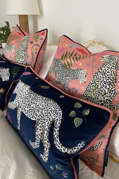 snow leopard velvet bolster cushion cover karen mabon ltd