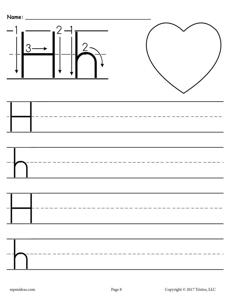 Printable Letter H Handwriting Worksheet! – SupplyMe