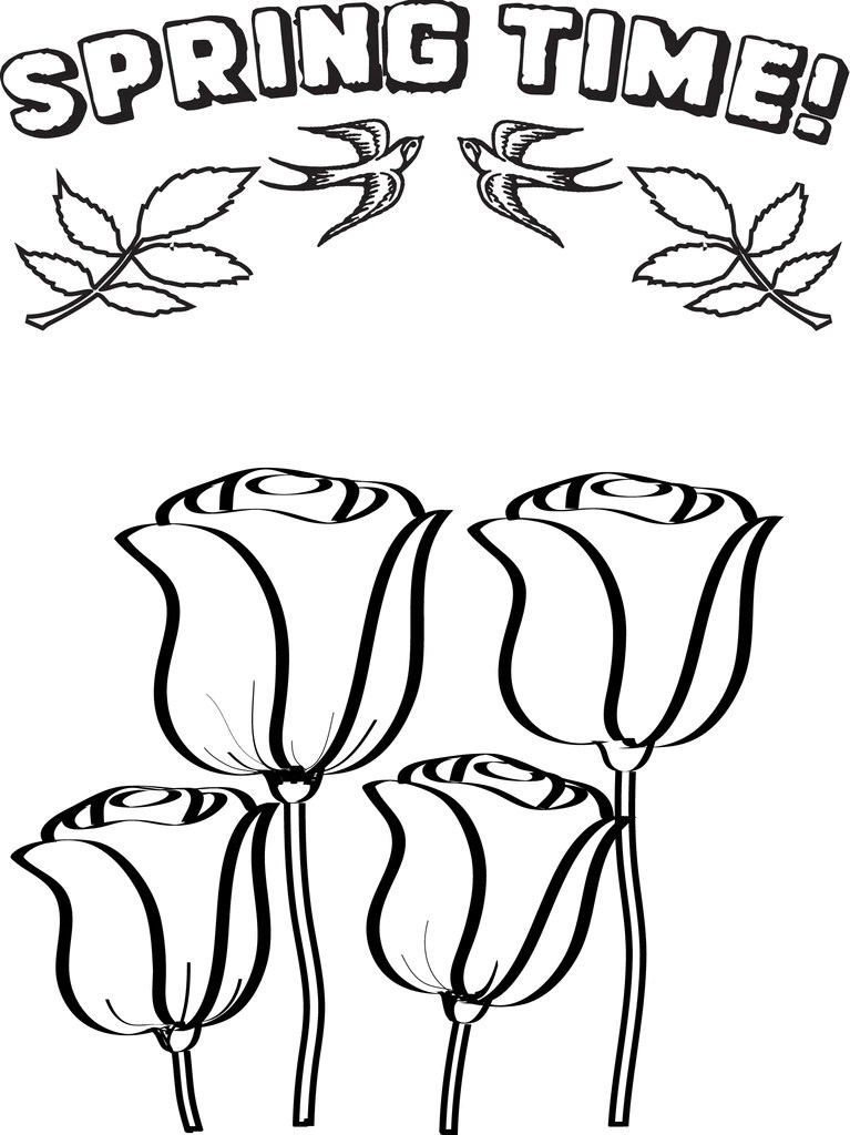 FREE Printable Spring Flowers Coloring Page for Kids ... | spring flower coloring pages