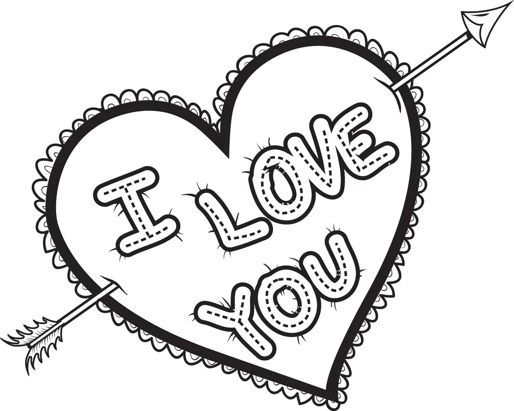 Printable I Love You Heart Coloring Page For Kids Supplyme